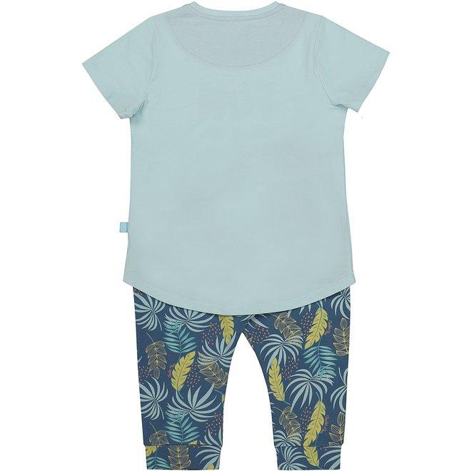 Charlie Choe Girls Three-Part Pyjama Set Blue Palm Print