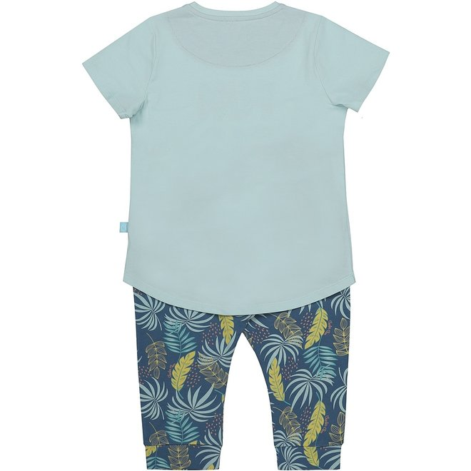 Charlie Choe Mädchen dreiteilige Pyjama Set blau Palm Print