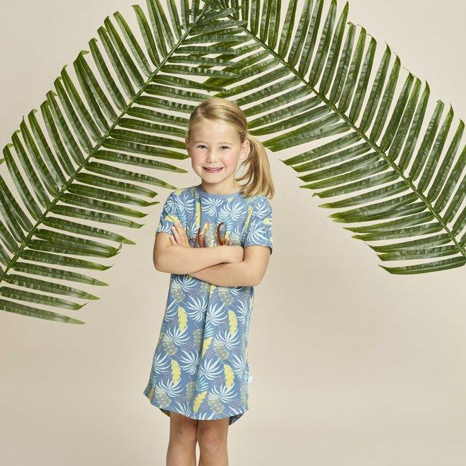 Charlie Choe Baby Girl Nightshirt Blue Palm Print