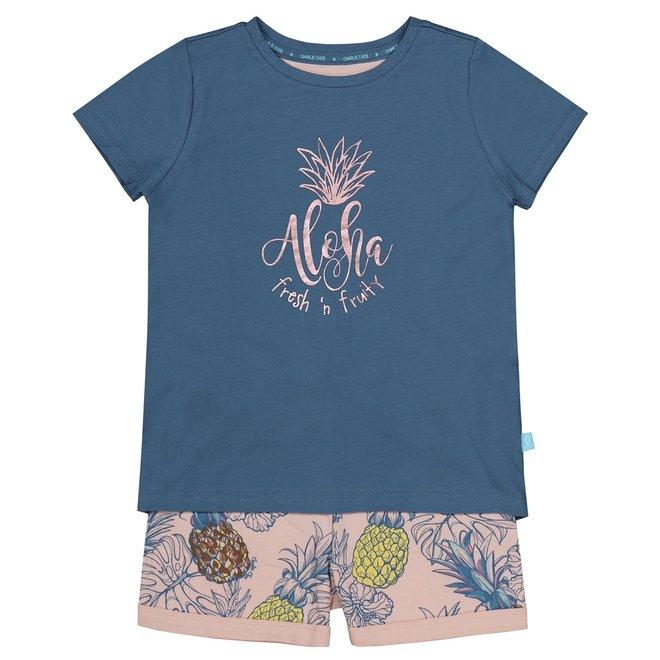 Charlie Choe Girl Nightshirt Set Blue Pineapple