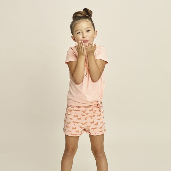 Charlie Choe Girls Pyjama Short Set Pink Butterfly
