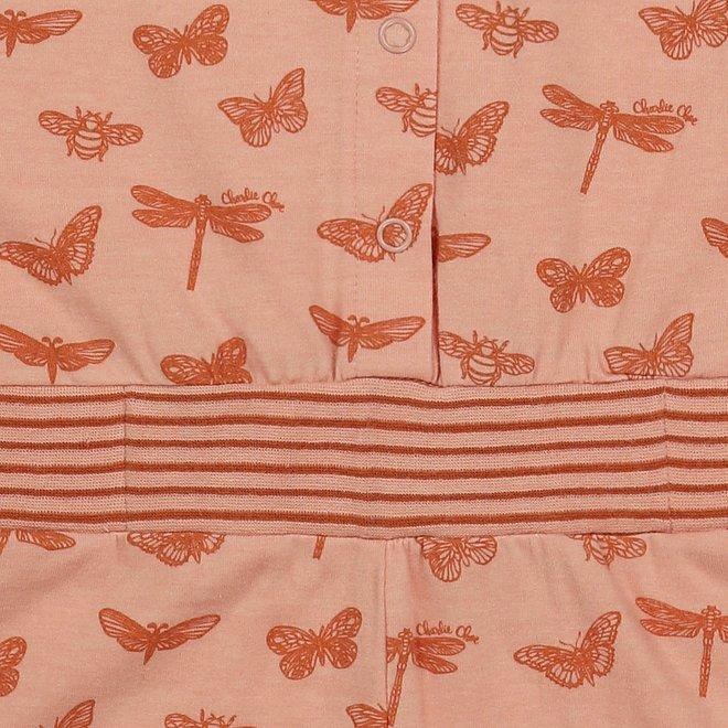 Charlie Choe Girls Pyjama Jumpsuit Pink Butterfly