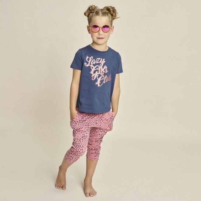 Charlie Choe Meisjes Pyjama Set Driekwart Blauw Roze Panter