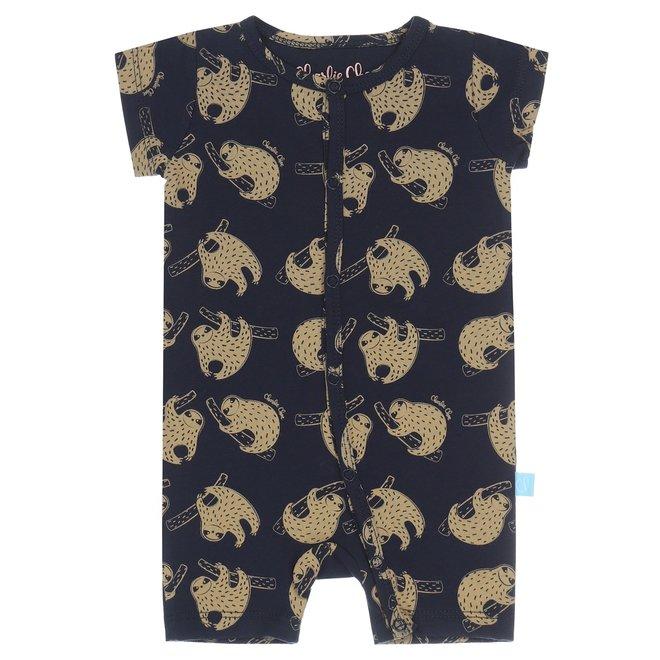 Charlie Choe Baby Pyjama kort Blauw Luiaard