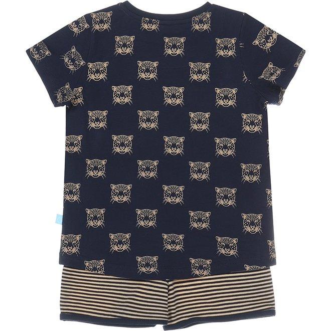 Charlie Choe Girls Pyjama Short Set Blue Beige Panther