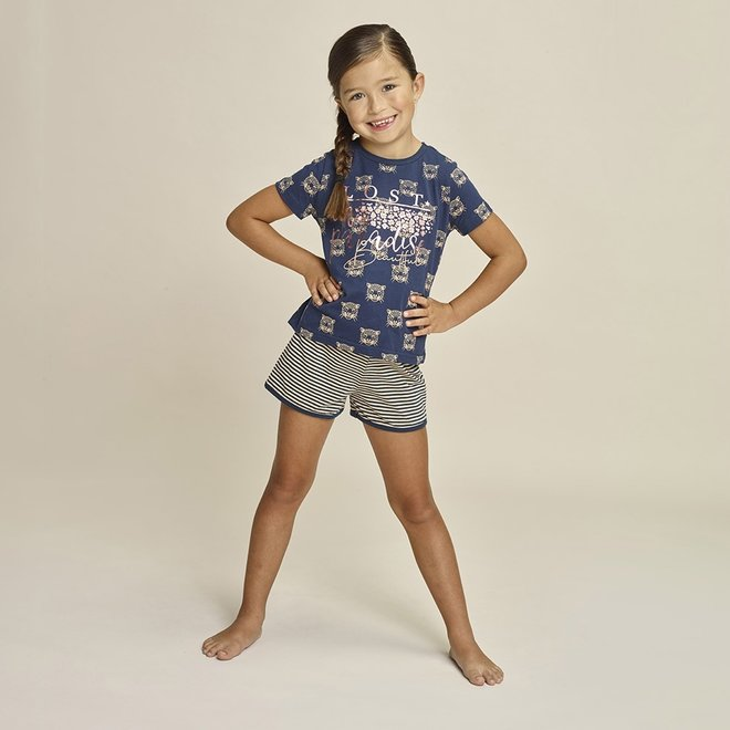 Charlie Choe Meisjes Pyjama Shortama Blauw Beige Panter