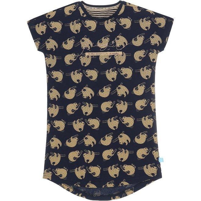 Charlie Choe Girls Nightshirt Blue Beige Leopard