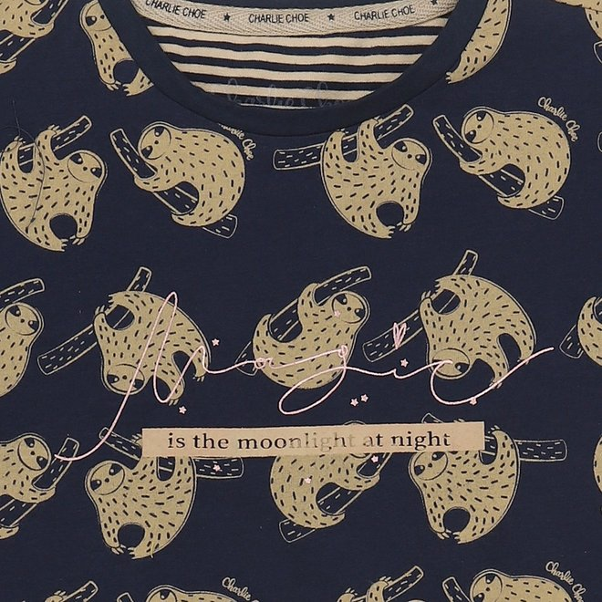 Charlie Choe Mädchen Nachthemd Blau Beige Leopard