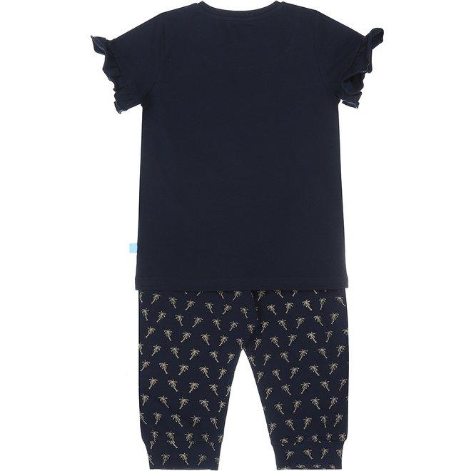 Charlie Choe Girls Pyjama Set Three Quarter Blue Palm Tree