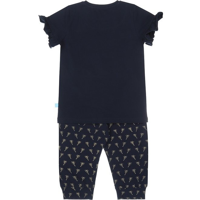 Charlie Choe Meisjes Pyjama Set Driekwart Blauw Palmboom