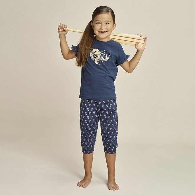 Charlie Choe Mädchen Pyjama Set drei Viertel blau Palme