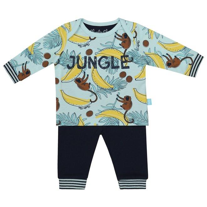 Charlie Choe Baby Boy Pyjama Set Aqua Blue Monkeys