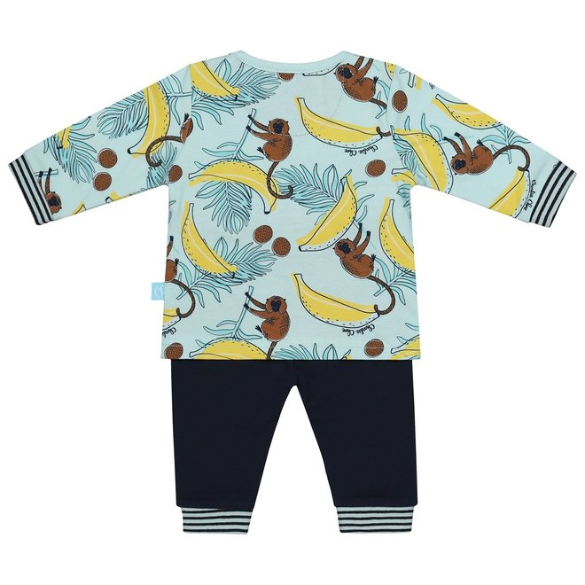 Charlie Choe Baby Junge Pyjama Set Aqua Blau Affen