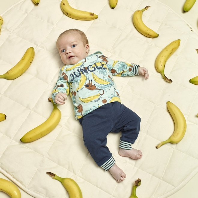 Charlie Choe Baby Jongens Pyjama Lounge Set Aqua Blauw Apen