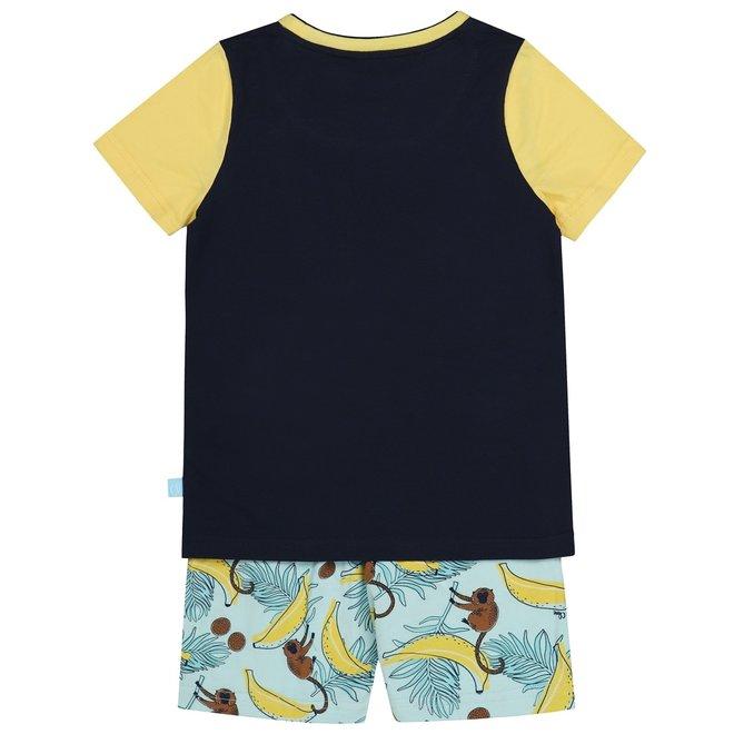 Charlie Choe Jungen Pyjama Short Set gelb blau Affen