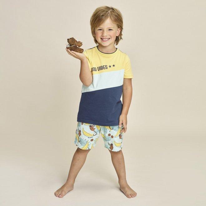 Charlie Choe Jongens Pyjama Shortama Geel Blauw Apen