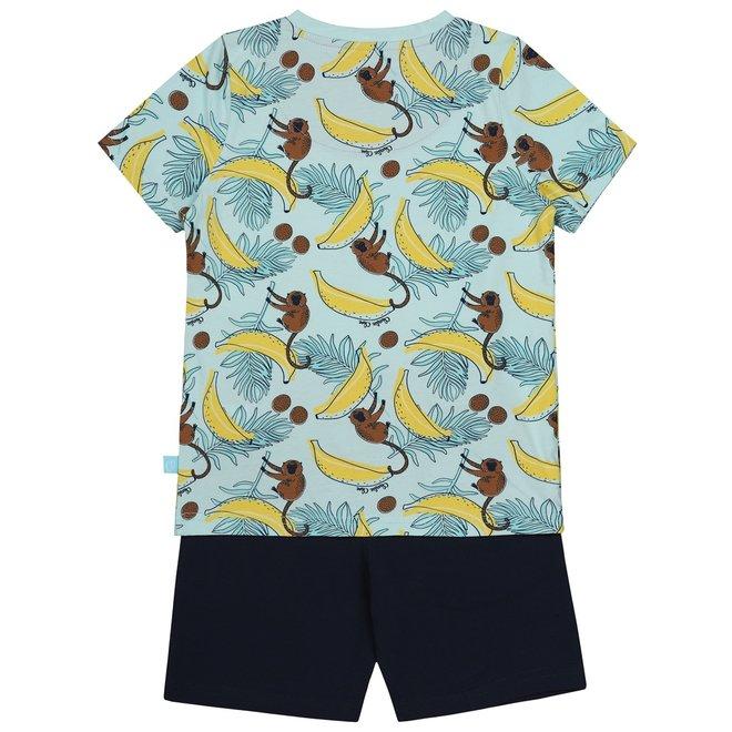 Charlie Choe Jongens Pyjama Shortama Blauw Apen V-hals