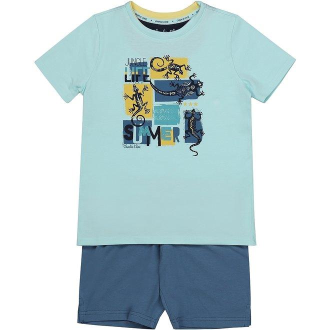 Charlie Choe Jungen Pyjama Short Set Aqua blau Eidechse