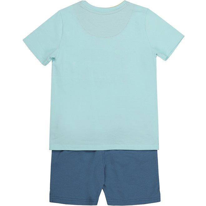 Charlie Choe Boys Pyjama Short Set Aqua Blue Lizard