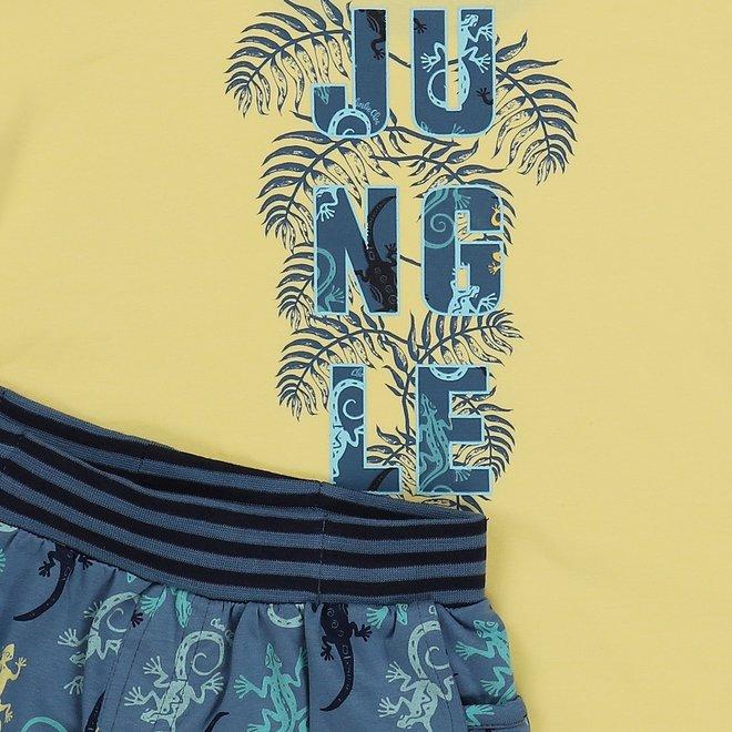 Charlie Choe Jongens Pyjama Shortama (long) Geel Hagedis