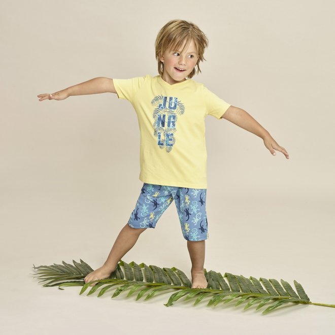 Charlie Choe Boys Pyjama Short Set Long Yellow Lizard