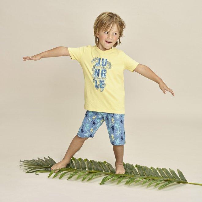 Charlie Choe Jungen Pyjama kurze Set lange gelbe Eidechse