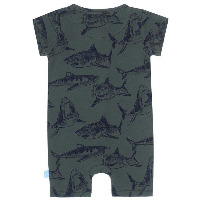 Charlie Choe Baby Junge Pyjamas Grüner Hai kurz