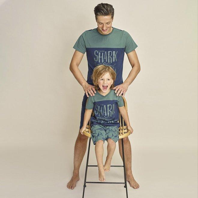 Charlie Choe Jungen Pyjama Short Set (lang) Grüner Hai
