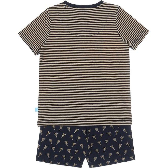 Charlie Choe Jongens Pyjama Shortama Blauw Beige Palmbomen