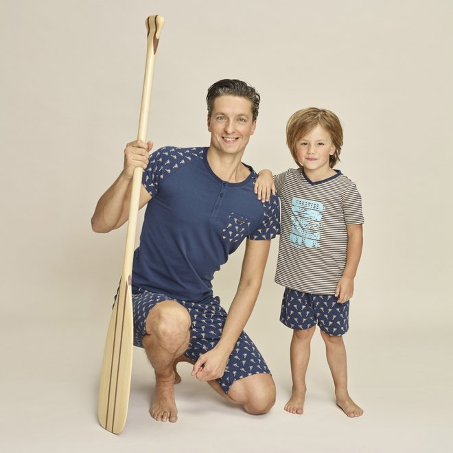 Charlie Choe Boys Pyjama Short Set Blue Beige Palm Trees