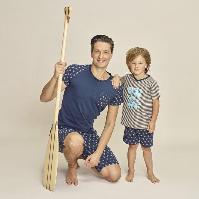 Charlie Choe Jungen Pyjama Short Set Blau Beige Palmen