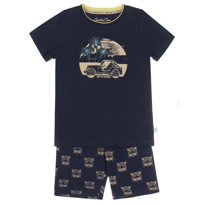Charlie Choe Jungen Pyjama Short Set blau Panther