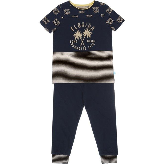 Charlie Choe Jongens Pyjama Lounge Set Blauw Panter