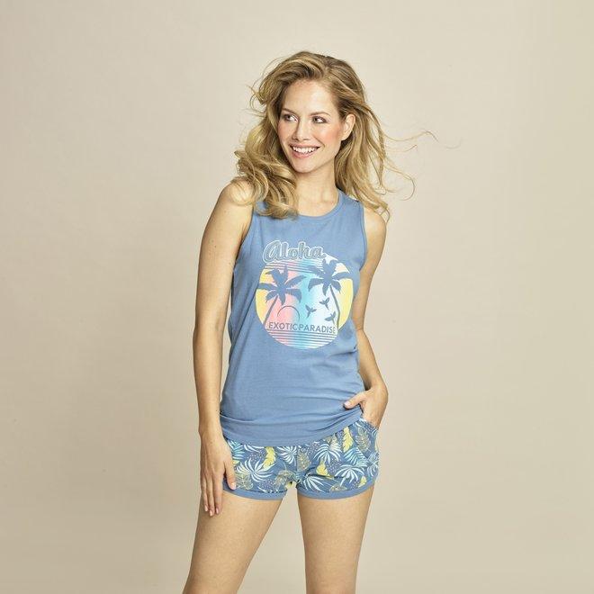 Charlie Choe Dames Pyjama Short Blauw Palmblad