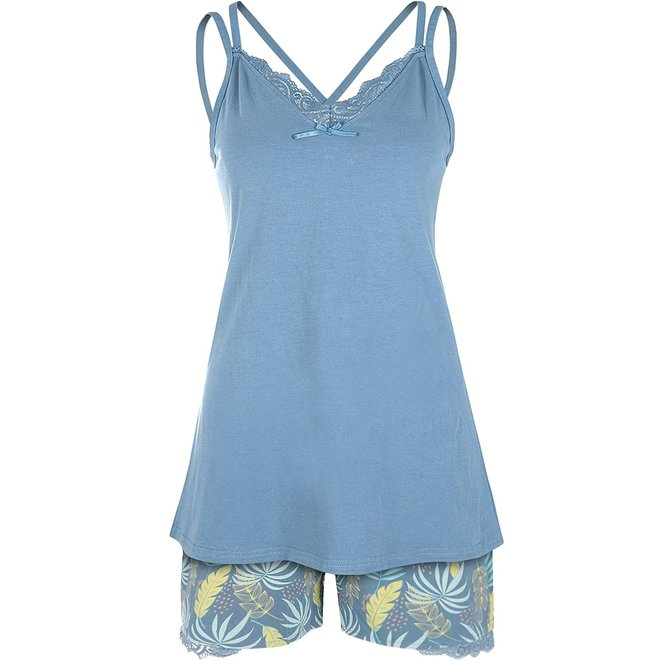 Charlie Choe Ladies Short Pants Blue Palm Leaf
