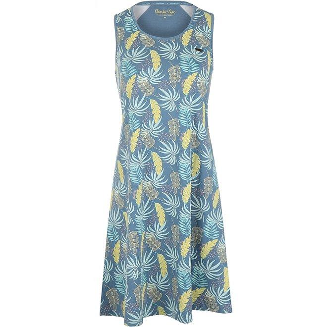 Charlie Choe Ladies Nightshirt Blue Palm Leaf