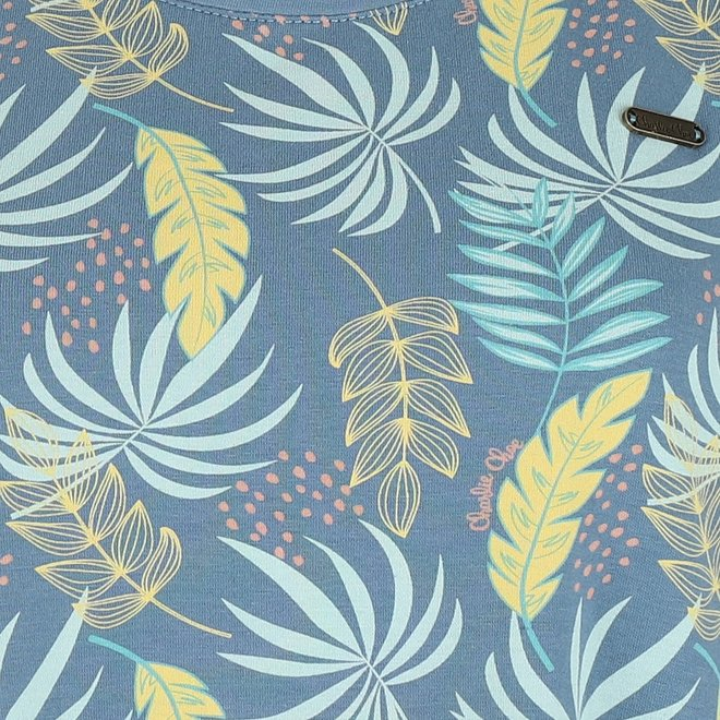 Charlie Choe Damen Nachthemd Blau Palm Leaf