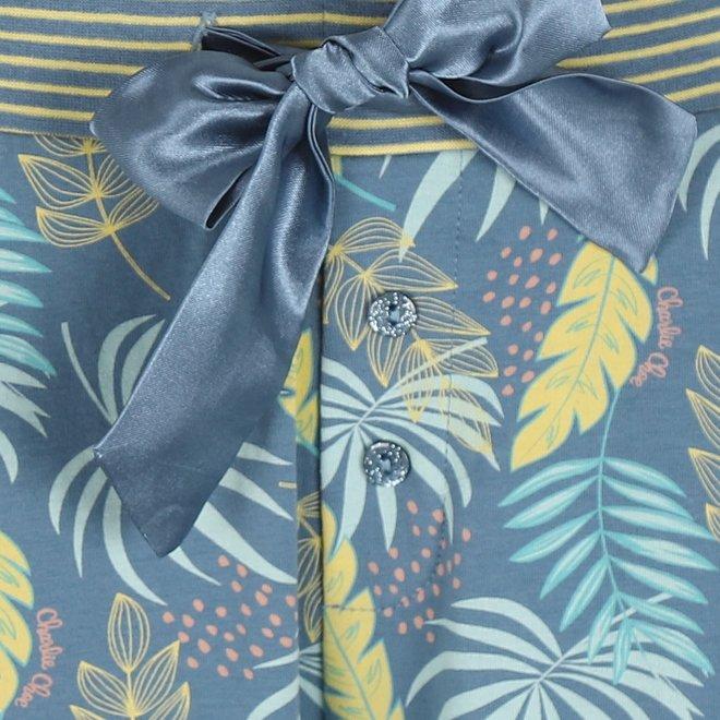 Charlie Choe Damen Pyjama Hose blau Palm Leaf