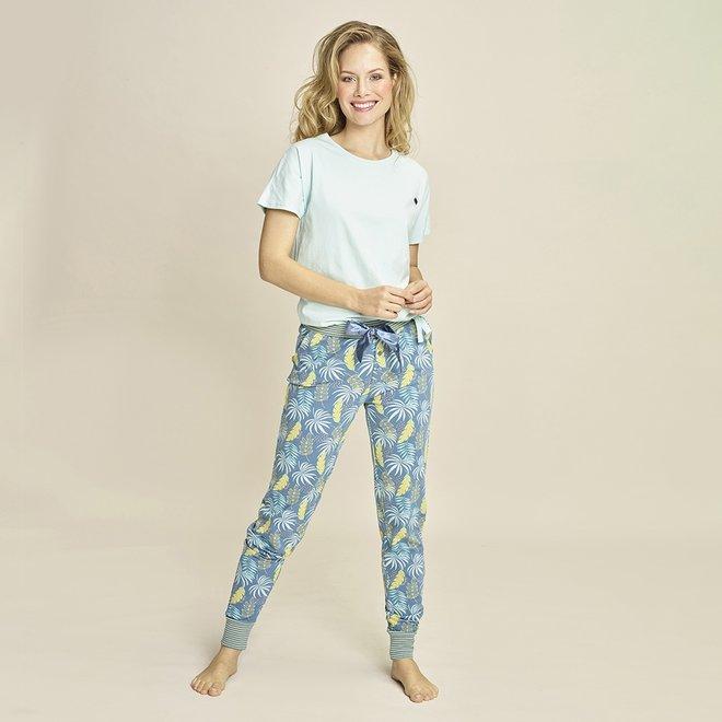 Charlie Choe Dames Pyjamabroek Blauw Palmblad