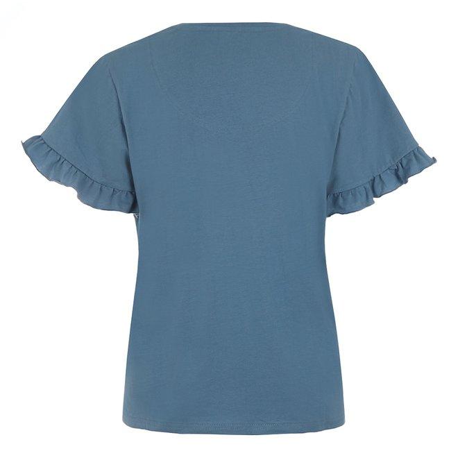 Charlie Choe Dames Pyjama T-shirt Blauw Ruche - Aloha