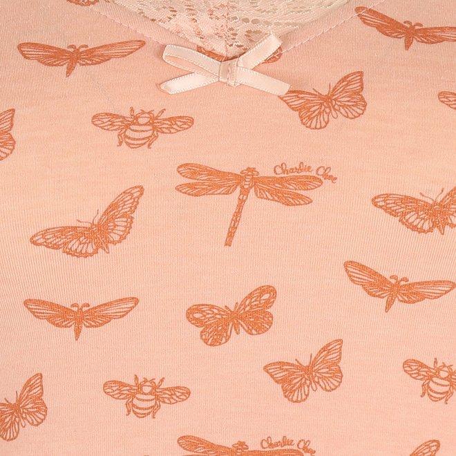 Charlie Choe Damen Nachthemd Rosa Schmetterling mit Spitze