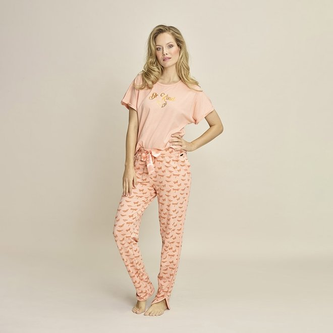 Charlie Choe Damen Pyjamahose rosa Schmetterling