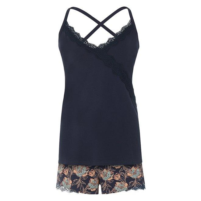 Charlie Choe Damen Nacht Shorts Blau Floral