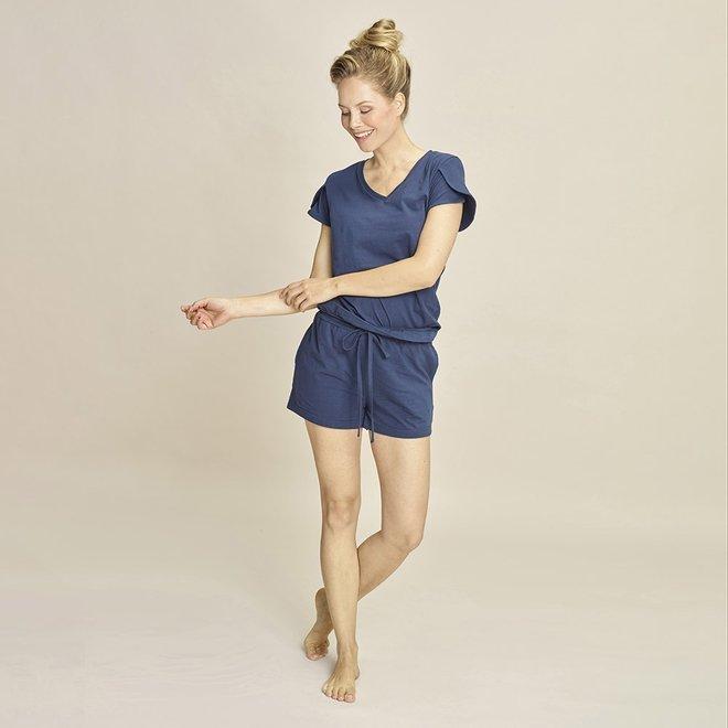 Charlie Choe Damen Pyjama T-shirt Blau V-Ausschnitt
