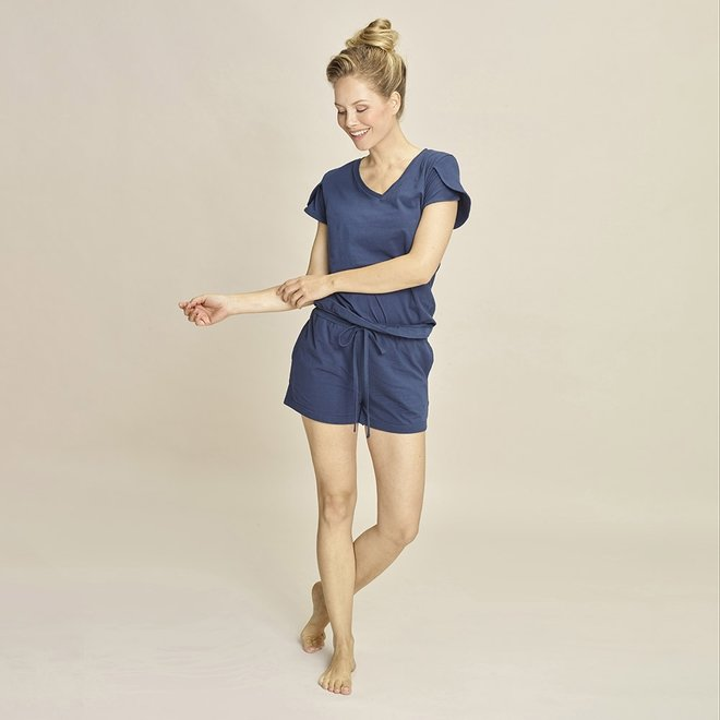 Charlie Choe Ladies Pyjama T-shirt Blue V-neck