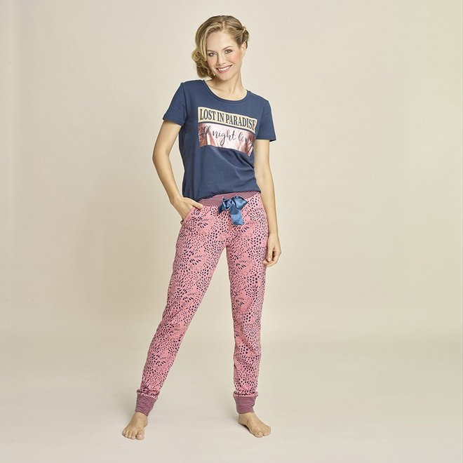 Charlie Choe Ladies Pyjama Pants Pink Blue Panther