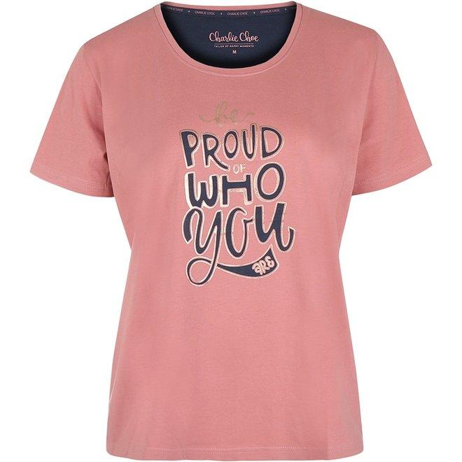 Charlie Choe Damen Pyjama T-shirt rosa blau