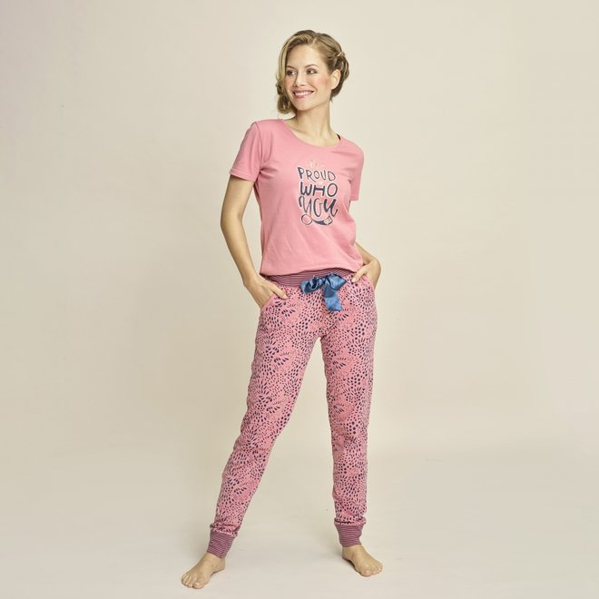 Charlie Choe Dames Pyjama T-shirt Roze Blauw