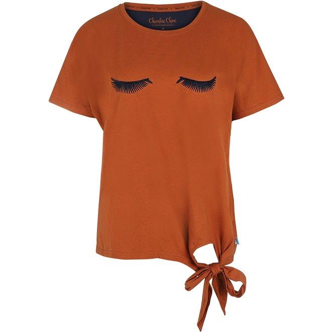 Charlie Choe Dames Pyjama T-shirt Cognac