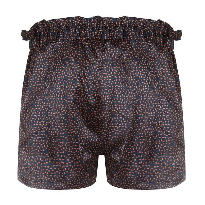 Charlie Choe Dames Pyjama Short Blauw Cognac